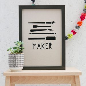 Black and Grey 'Maker' Art Print by rosieoneilldesign